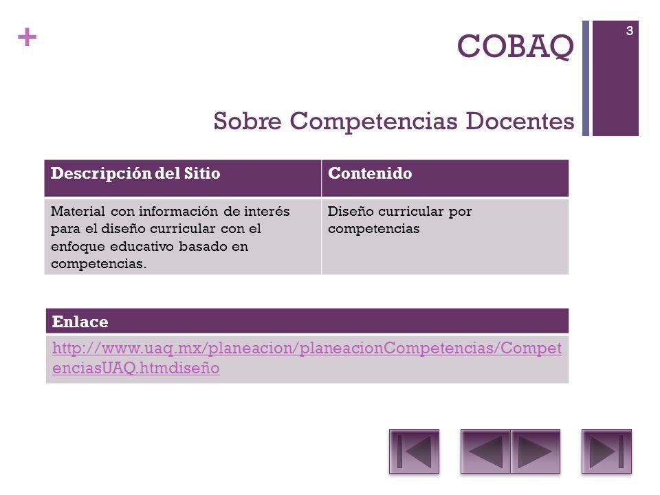 + COBAQ Sobre Competencias Docentes Descripción del SitioContenido Material con información de interés para el diseño curricular con el enfoque educativo basado en competencias.