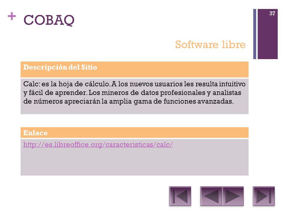 + COBAQ Descripción del Sitio Calc: es la hoja de cálculo.