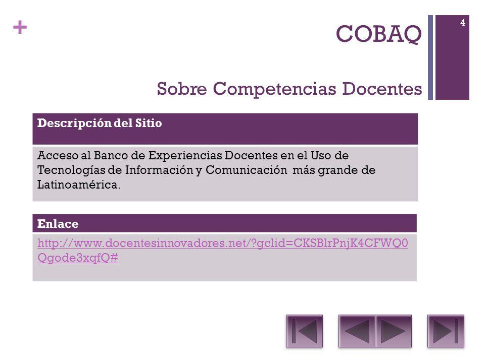 + COBAQ Sobre Aprendizaje Basado en Proyectos Descripción del SitioContenido Permite crear, editar y visualizar sus propios Proyectos.