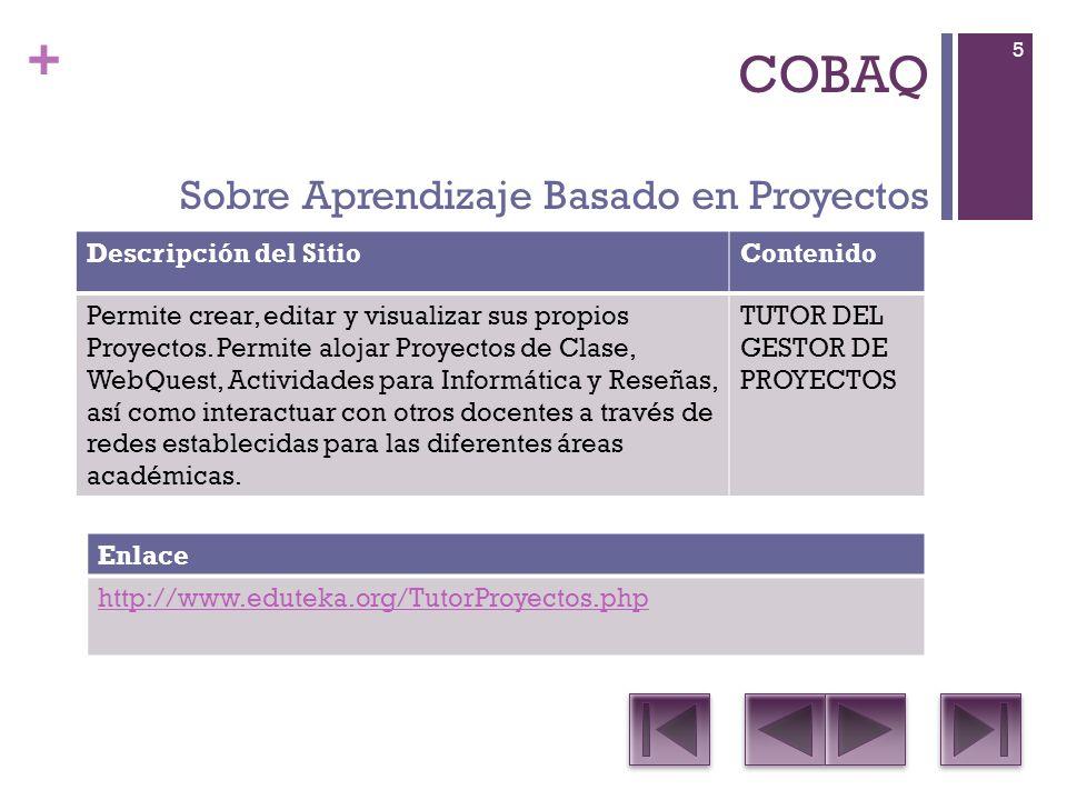 + COBAQ Descripción del SitioContenido Es una suite ofimática que incluye procesador de documentos de textos, Planilla de cálculos, editor de presentaciones, Editor de gráficos vectoriales, editor de páginas webs y diseñador de bases de datos.