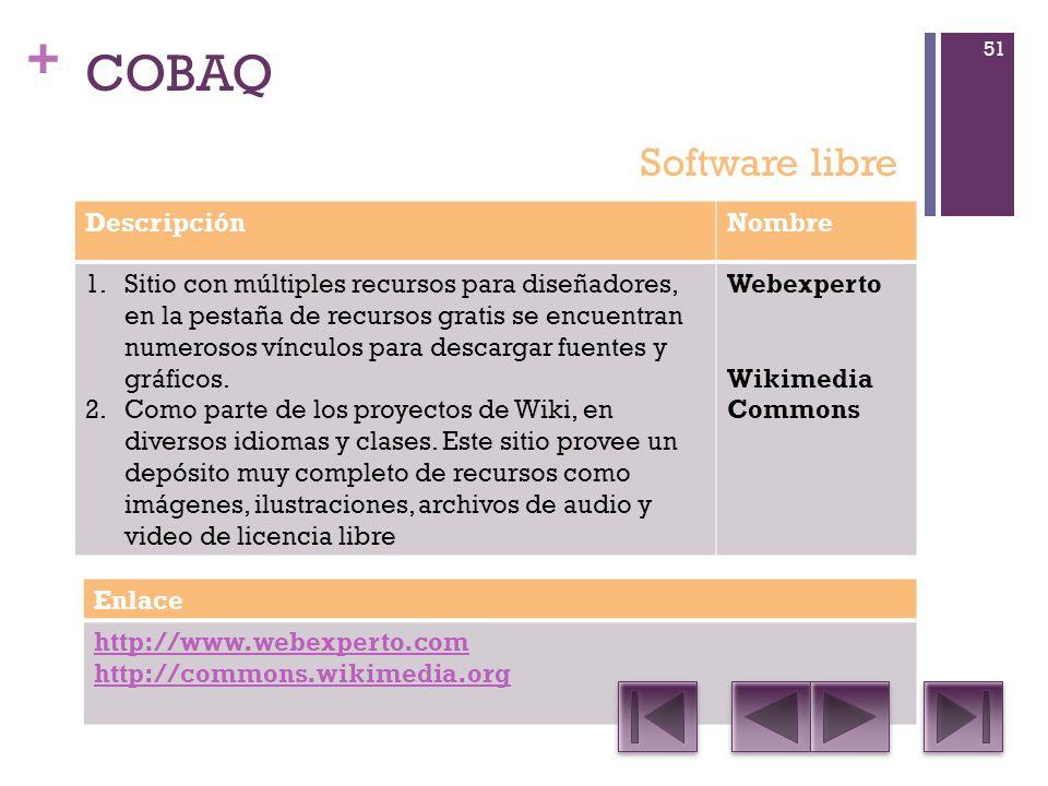 + COBAQ DescripciónNombre 1.Sitio con múltiples recursos para diseñadores, en la pestaña de recursos gratis se encuentran numerosos vínculos para descargar fuentes y gráficos.