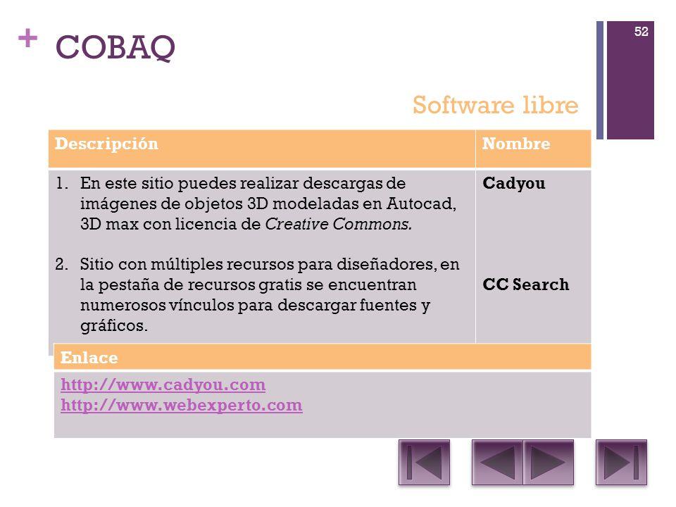+ COBAQ DescripciónNombre 1.En este sitio puedes realizar descargas de imágenes de objetos 3D modeladas en Autocad, 3D max con licencia de Creative Commons.