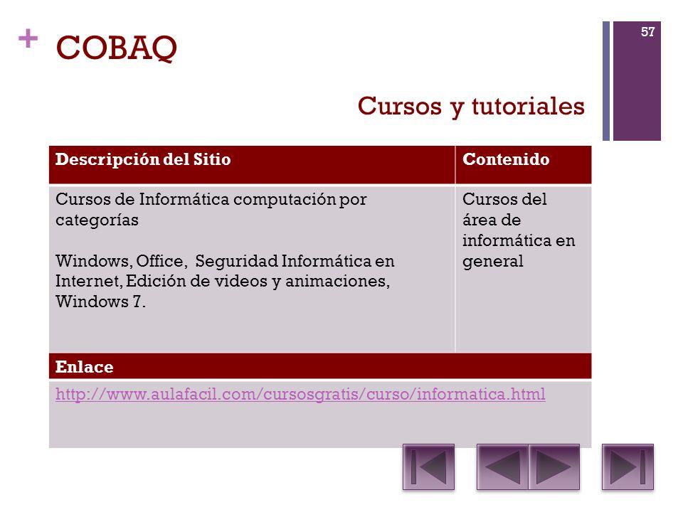 + COBAQ Descripción del SitioContenido Cursos de Informática computación por categorías Windows, Office, Seguridad Informática en Internet, Edición de videos y animaciones, Windows 7.