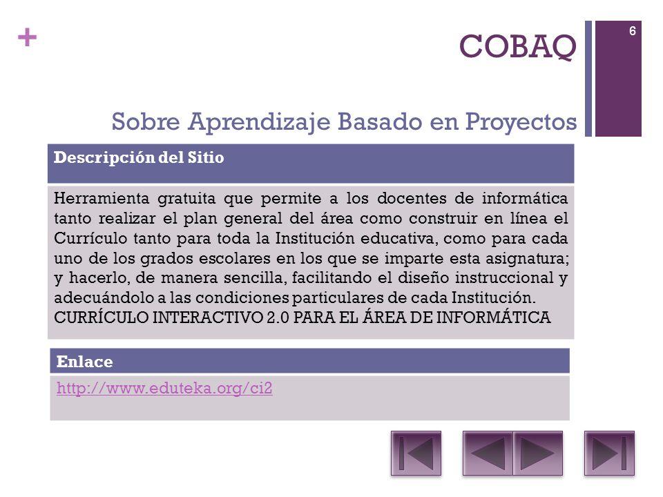 + COBAQ Descripción del Sitio Editor de fórmulas Enlace http://es.wikibooks.org/wiki/OpenOffice.org/Math:_el_editor_de_ fórmulas Software libre 27