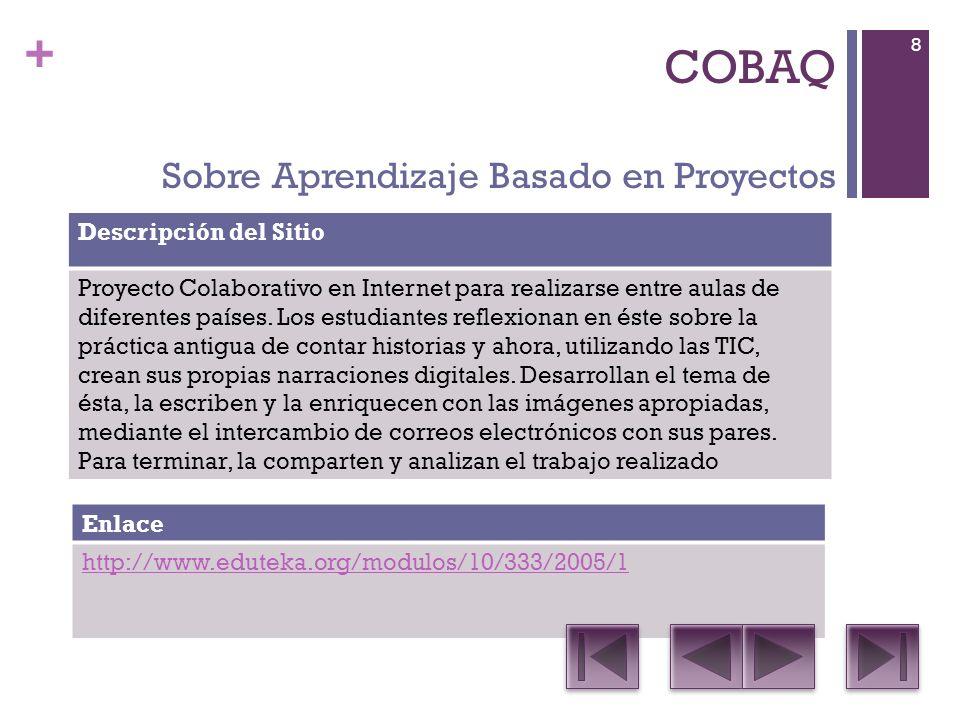 + COBAQ Sobre Aprendizaje Basado en Proyectos Descripción del Sitio Proyecto Colaborativo en Internet para realizarse entre aulas de diferentes países.