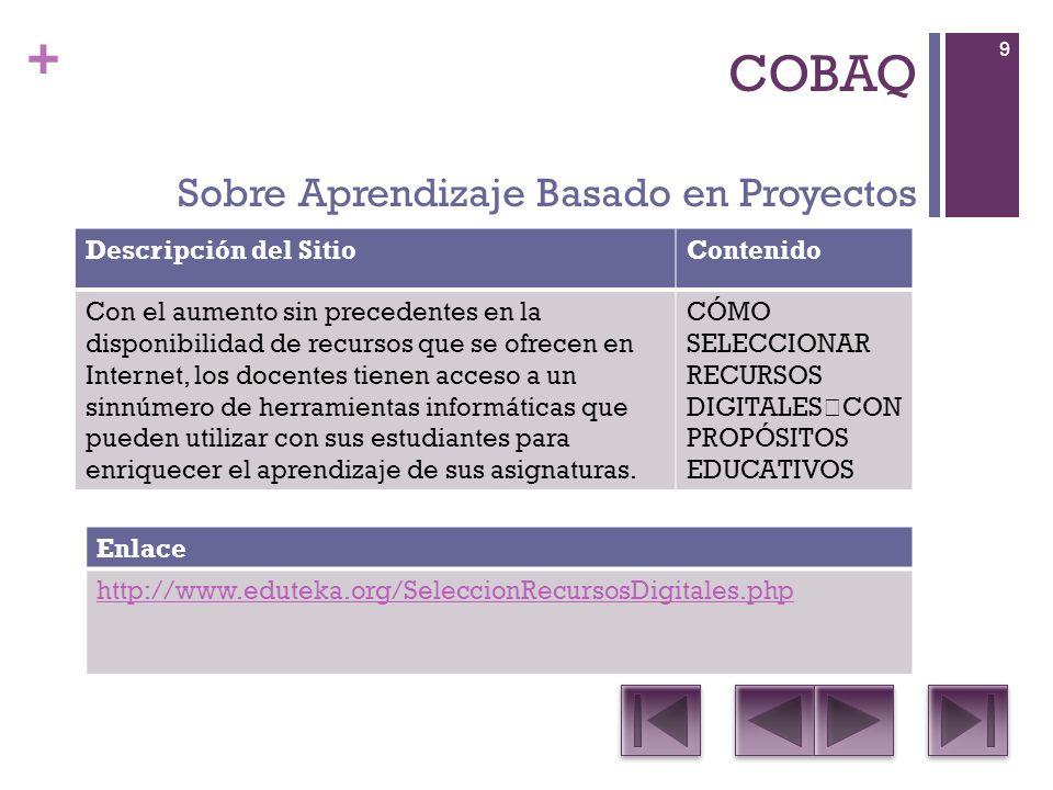 + COBAQ Descripción del SitioContenido Reunión de los conjuntos de Estándares en Tecnologías de Información y Comunicaciones (TIC) más reconocidos que establecen parámetros en esta área para estudiantes, docentes y directivos.