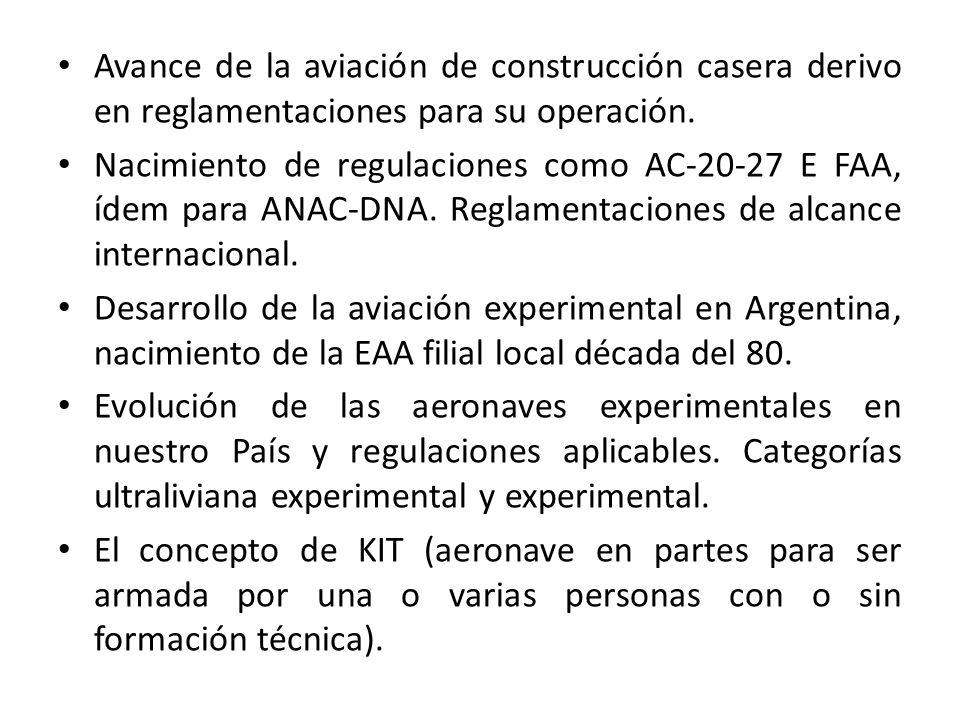 Avance de la aviación de construcción casera derivo en reglamentaciones para su operación. Nacimiento de regulaciones como AC-20-27 E FAA, ídem para A