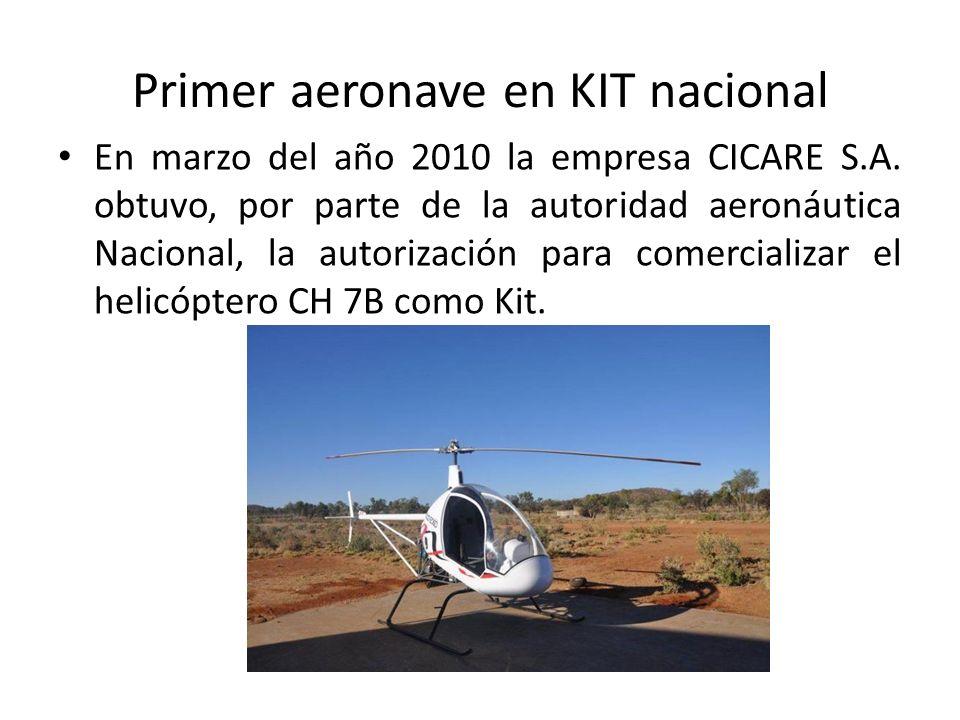 Primer aeronave en KIT nacional En marzo del año 2010 la empresa CICARE S.A. obtuvo, por parte de la autoridad aeronáutica Nacional, la autorización p