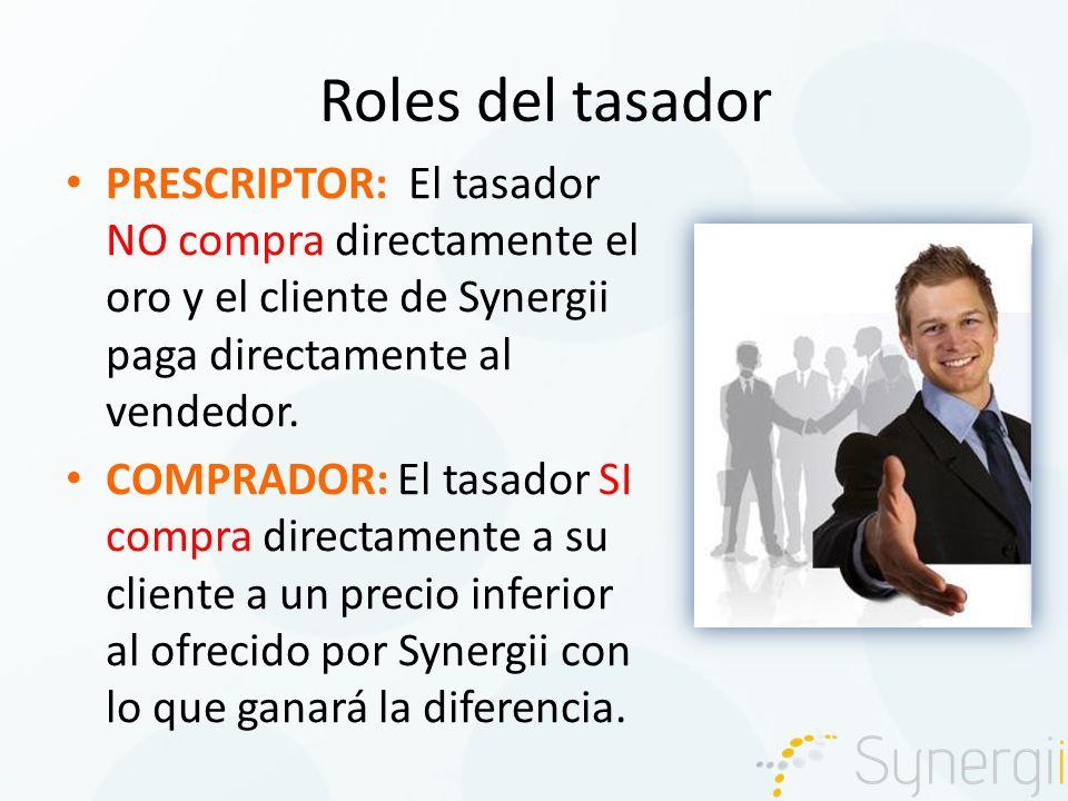 Roles del tasador PRESCRIPTOR: El tasador NO compra directamente el oro y el cliente de Synergii paga directamente al vendedor.