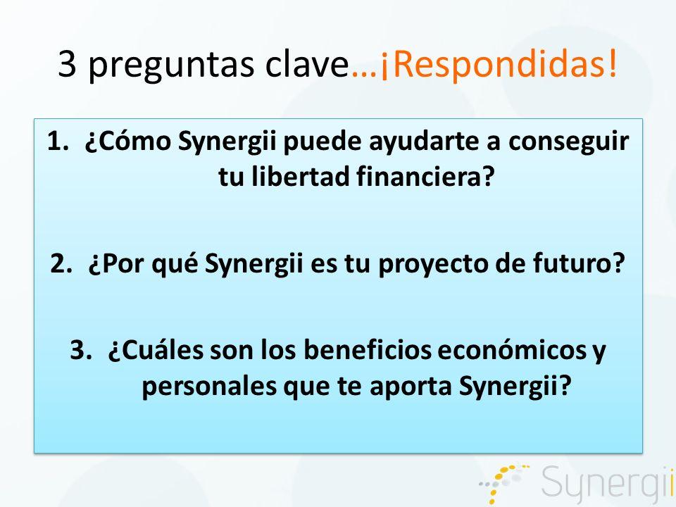 3 preguntas clave…¡Respondidas. 1.¿Cómo Synergii puede ayudarte a conseguir tu libertad financiera.