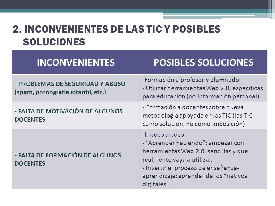 2. INCONVENIENTES DE LAS TIC Y POSIBLES SOLUCIONES INCONVENIENTESPOSIBLES SOLUCIONES - PROBLEMAS DE SEGURIDAD Y ABUSO (spam, pornografía infantil, etc