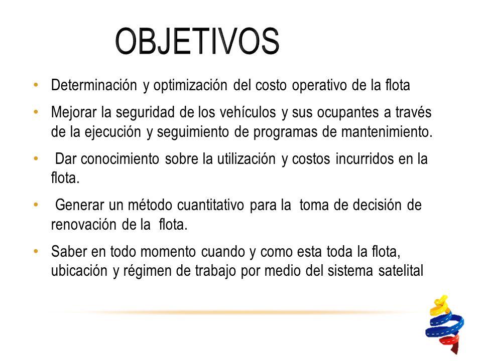 Determinación y optimización del costo operativo de la flota Mejorar la seguridad de los vehículos y sus ocupantes a través de la ejecución y seguimiento de programas de mantenimiento.