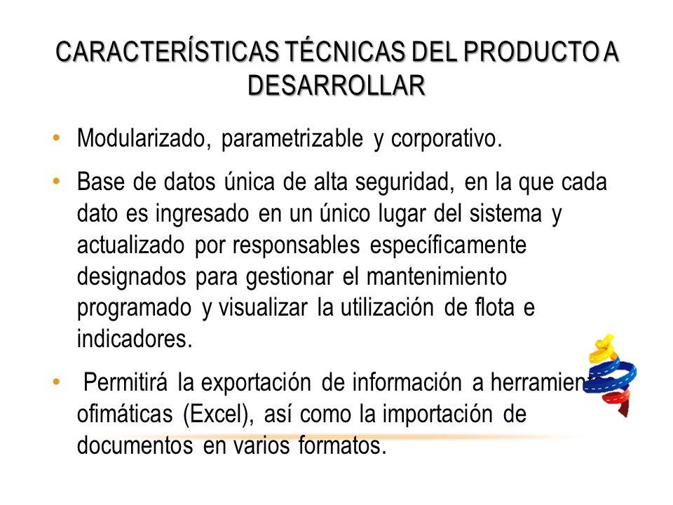 CARACTERÍSTICAS TÉCNICAS DEL PRODUCTO A DESARROLLAR Modularizado, parametrizable y corporativo.