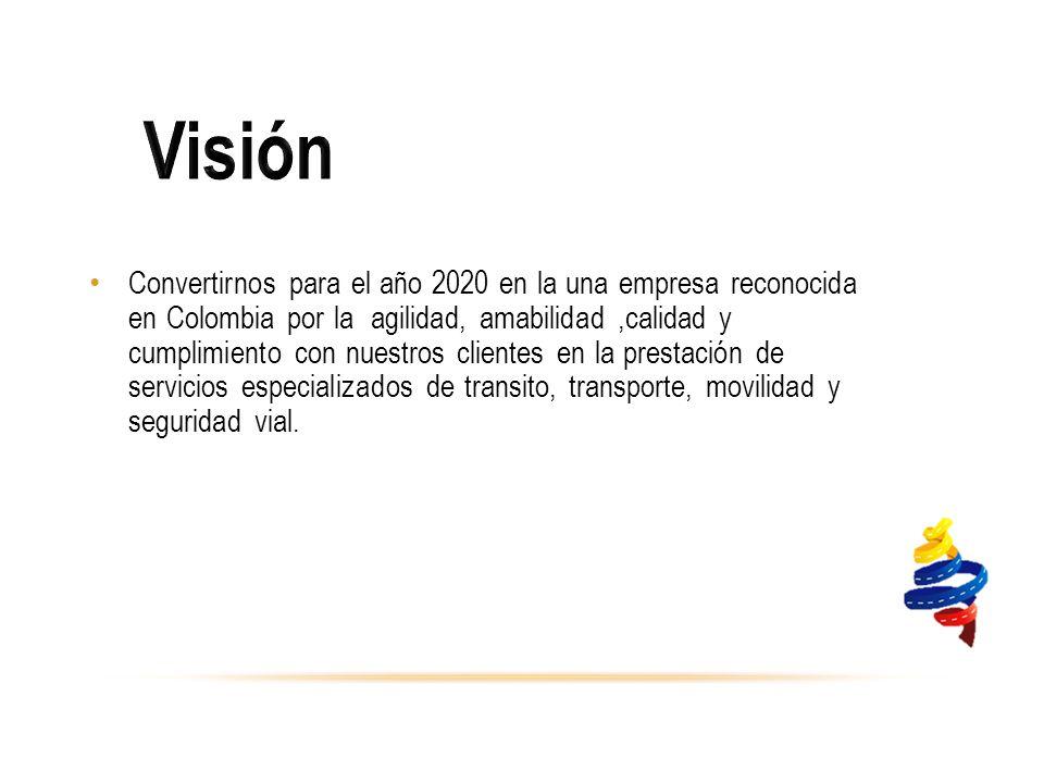 Convertirnos para el año 2020 en la una empresa reconocida en Colombia por la agilidad, amabilidad,calidad y cumplimiento con nuestros clientes en la prestación de servicios especializados de transito, transporte, movilidad y seguridad vial.