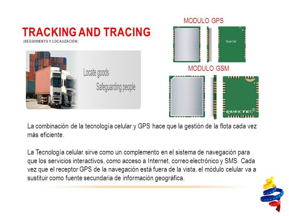 TRACKING AND TRACING (SEGUIMIENTO Y LOCALIZACIÓN ) La combinación de la tecnología celular y GPS hace que la gestión de la flota cada vez más eficiente.