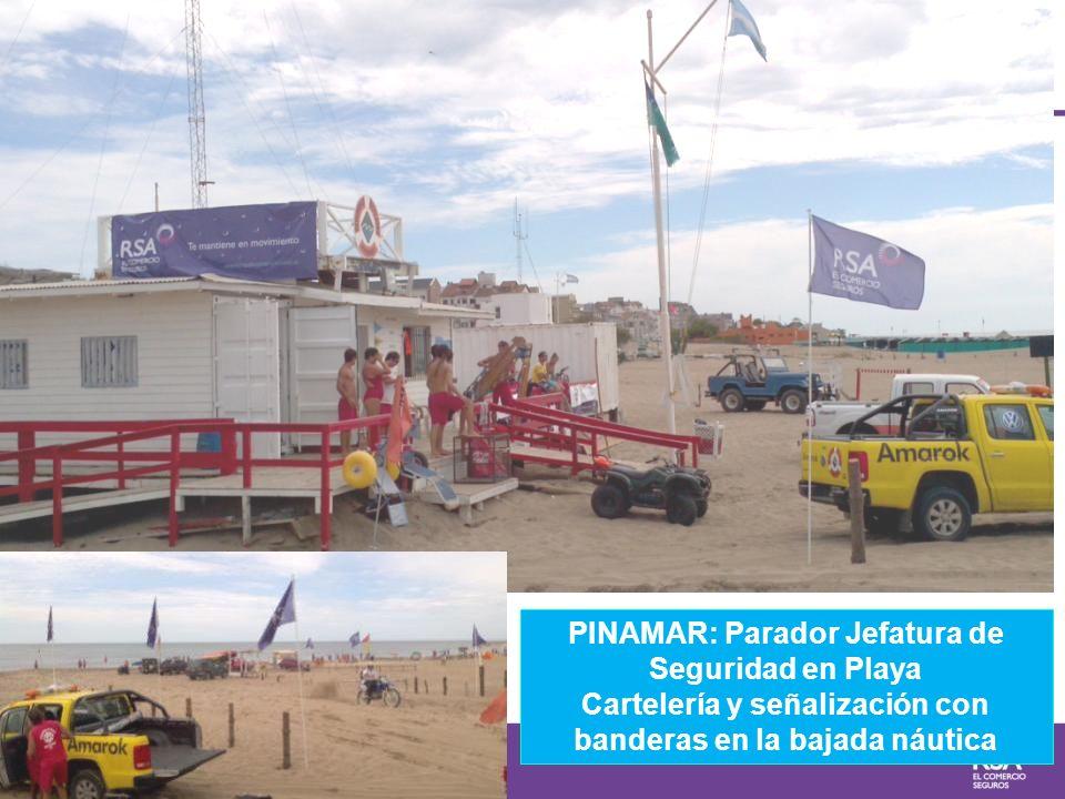 PINAMAR: Parador Jefatura de Seguridad en Playa Cartelería y señalización con banderas en la bajada náutica