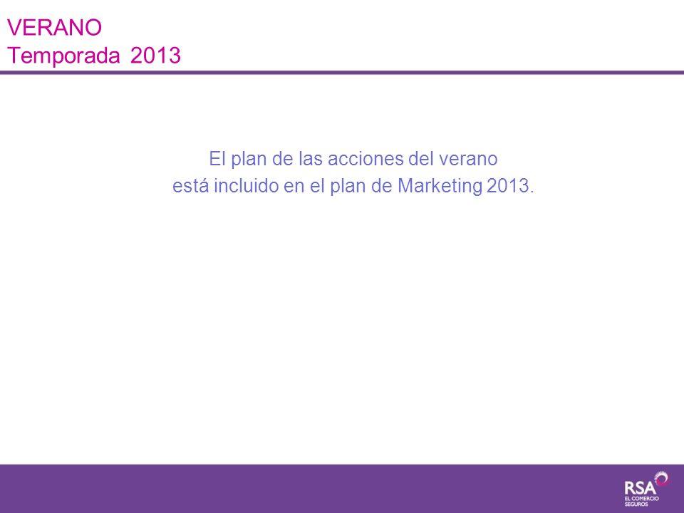 VERANO Temporada 2013 Las acciones de Verano están incluida en el presupuesto del plan de Marketing del año 2013.