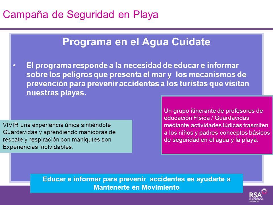 Programa en el Agua Cuidate El programa responde a la necesidad de educar e informar sobre los peligros que presenta el mar y los mecanismos de preven