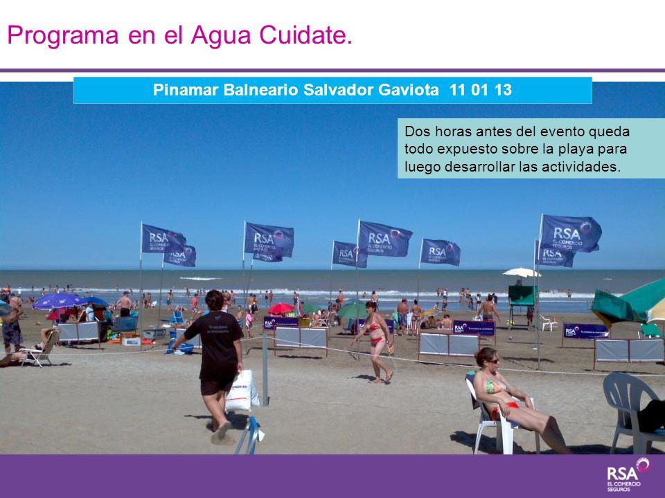 Programa en el Agua Cuidate. Dos horas antes del evento queda todo expuesto sobre la playa para luego desarrollar las actividades. Pinamar Balneario S