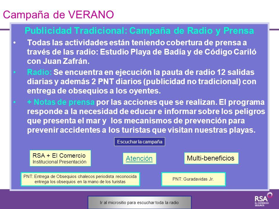Publicidad Tradicional: Campaña de Radio y Prensa Todas las actividades están teniendo cobertura de prensa a través de las radio: Estudio Playa de Bad