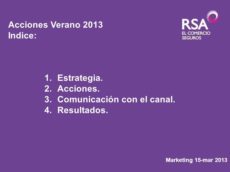 Marketing 15-mar 2013 Acciones Verano 2013 Indice: 1.Estrategia. 2.Acciones. 3.Comunicación con el canal. 4.Resultados.
