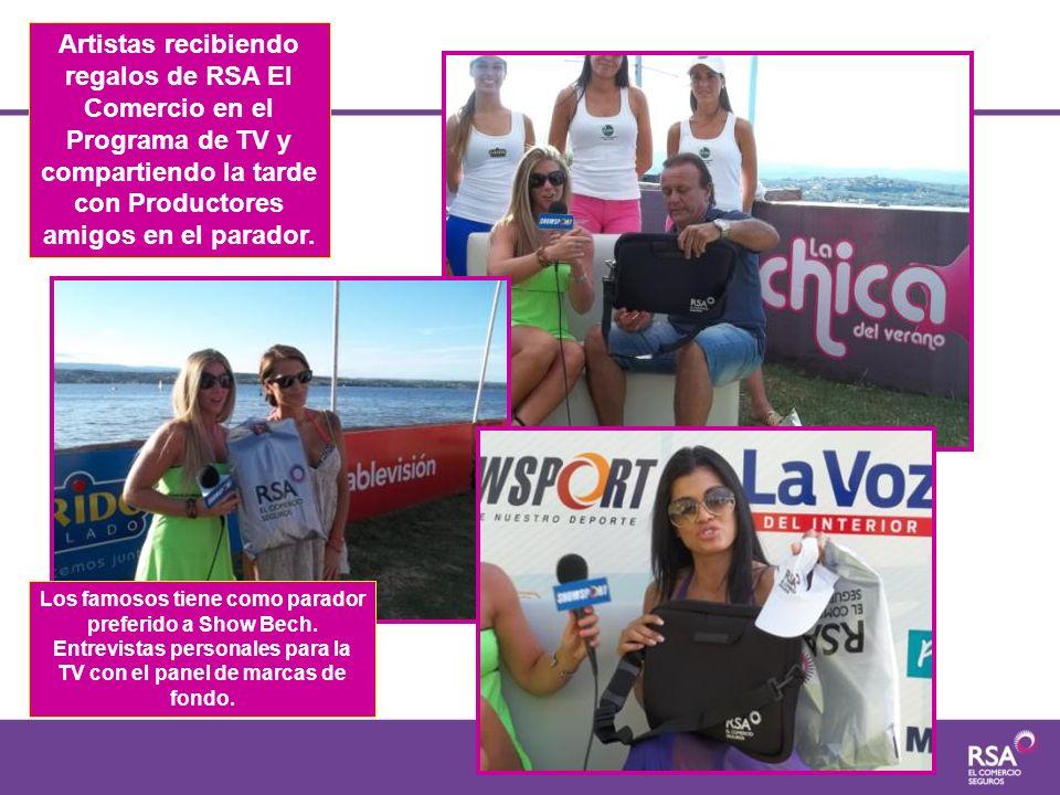 Artistas recibiendo regalos de RSA El Comercio en el Programa de TV y compartiendo la tarde con Productores amigos en el parador. Los famosos tiene co