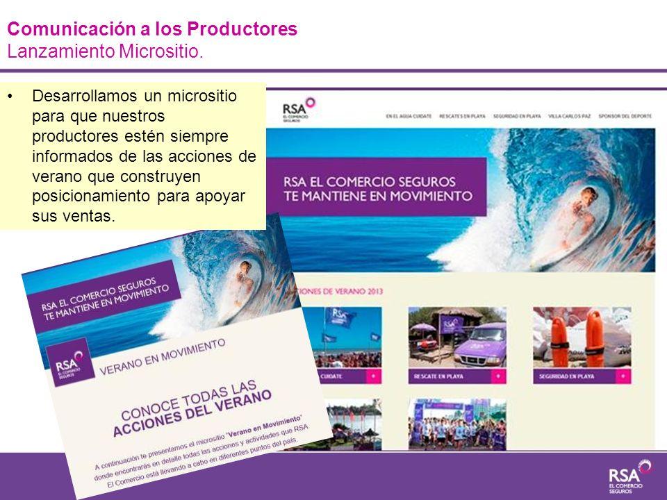 Comunicación a los Productores Lanzamiento Micrositio. Desarrollamos un micrositio para que nuestros productores estén siempre informados de las accio