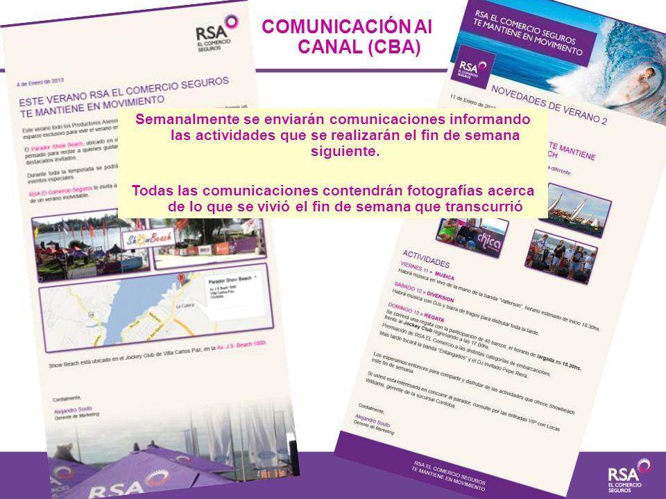 COMUNICACIÓN Al CANAL (CBA) Semanalmente se enviarán comunicaciones informando las actividades que se realizarán el fin de semana siguiente. Todas las