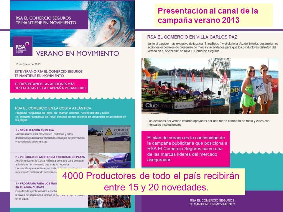 4000 Productores de todo el país recibirán entre 15 y 20 novedades. Presentación al canal de la campaña verano 2013