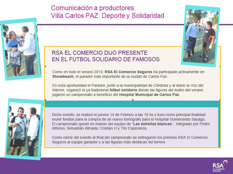 Comunicación a productores: Villa Carlos PAZ: Deporte y Solidaridad