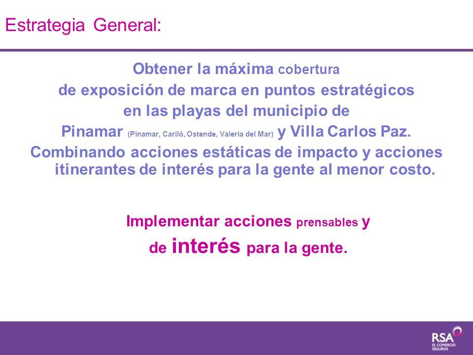 Estrategia General: Obtener la máxima cobertura de exposición de marca en puntos estratégicos en las playas del municipio de Pinamar (Pinamar, Cariló,
