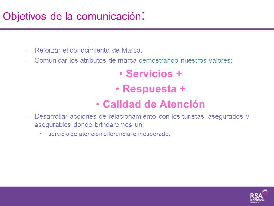 –Reforzar el conocimiento de Marca. –Comunicar los atributos de marca demostrando nuestros valores: Servicios + Respuesta + Calidad de Atención –Desar