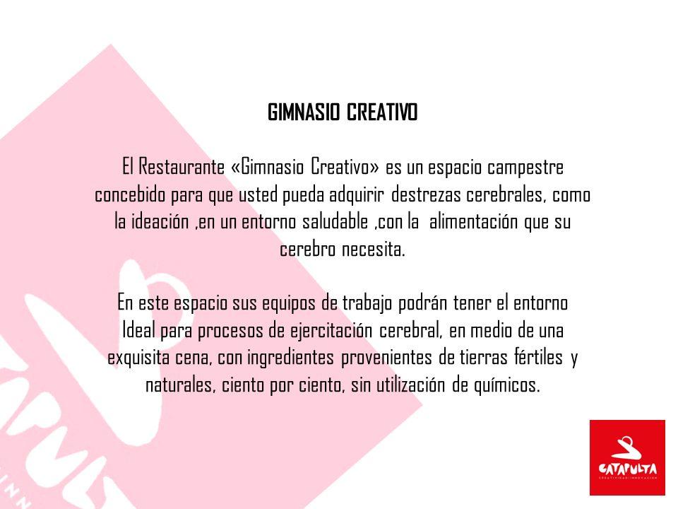 GIMNASIO CREATIVO El Restaurante «Gimnasio Creativo» es un espacio campestre concebido para que usted pueda adquirir destrezas cerebrales, como la ideación,en un entorno saludable,con la alimentación que su cerebro necesita.