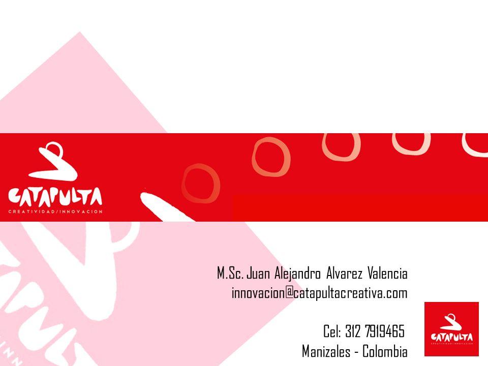 M.Sc. Juan Alejandro Alvarez Valencia innovacion@catapultacreativa.com Cel: 312 7919465 Manizales - Colombia