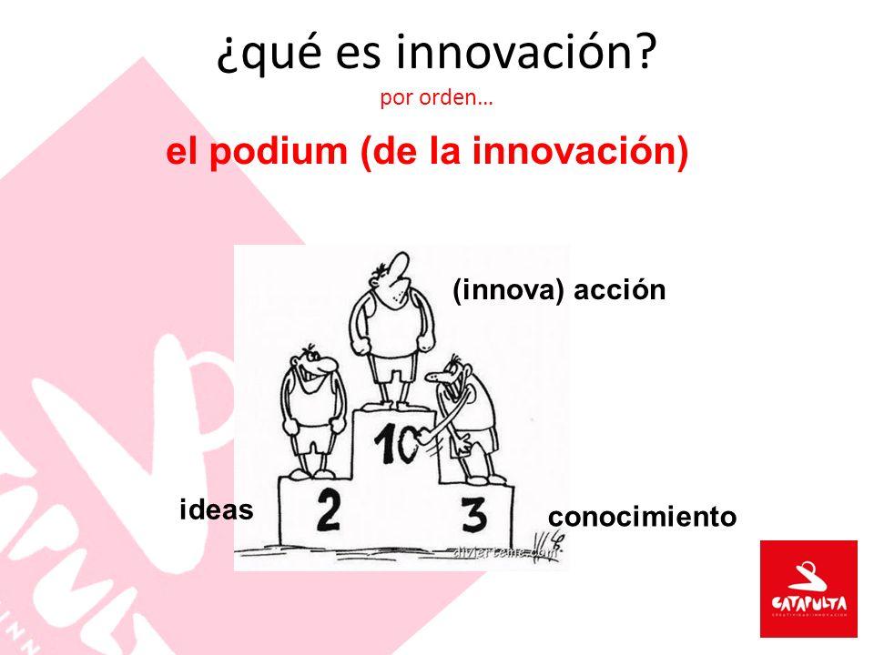 ¿qué es innovación? por orden… el podium (de la innovación) conocimiento ideas (innova) acción