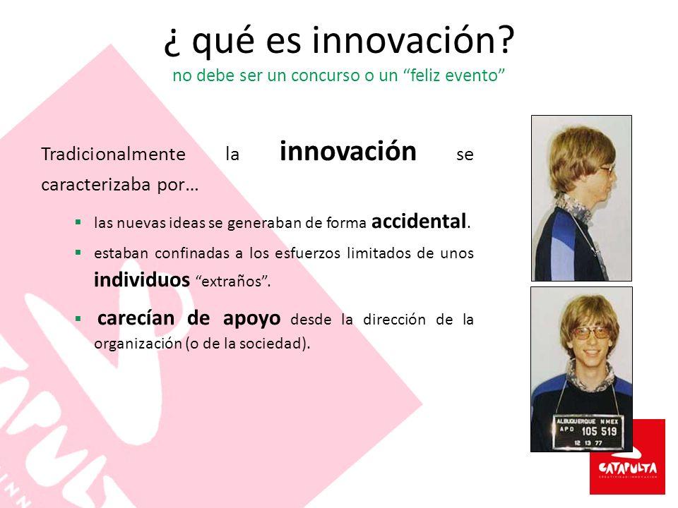 ¿ qué es innovación? no debe ser un concurso o un feliz evento Tradicionalmente la innovación se caracterizaba por… las nuevas ideas se generaban de f