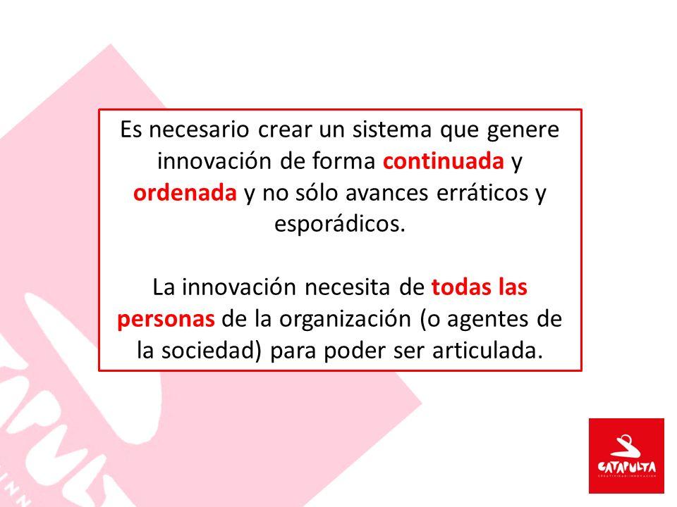 Es necesario crear un sistema que genere innovación de forma continuada y ordenada y no sólo avances erráticos y esporádicos. La innovación necesita d