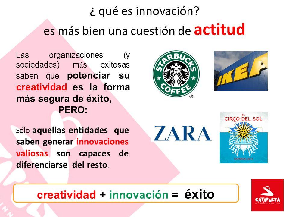 Las organizaciones (y sociedades) m á s exitosas saben que potenciar su creatividad es la forma más segura de éxito, PERO: creatividad + innovación =