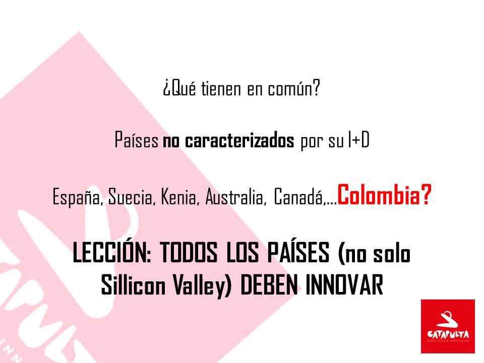 ¿Qué tienen en común? Países no caracterizados por su I+D España, Suecia, Kenia, Australia, Canadá,… Colombia? LECCIÓN: TODOS LOS PAÍSES (no solo Sill
