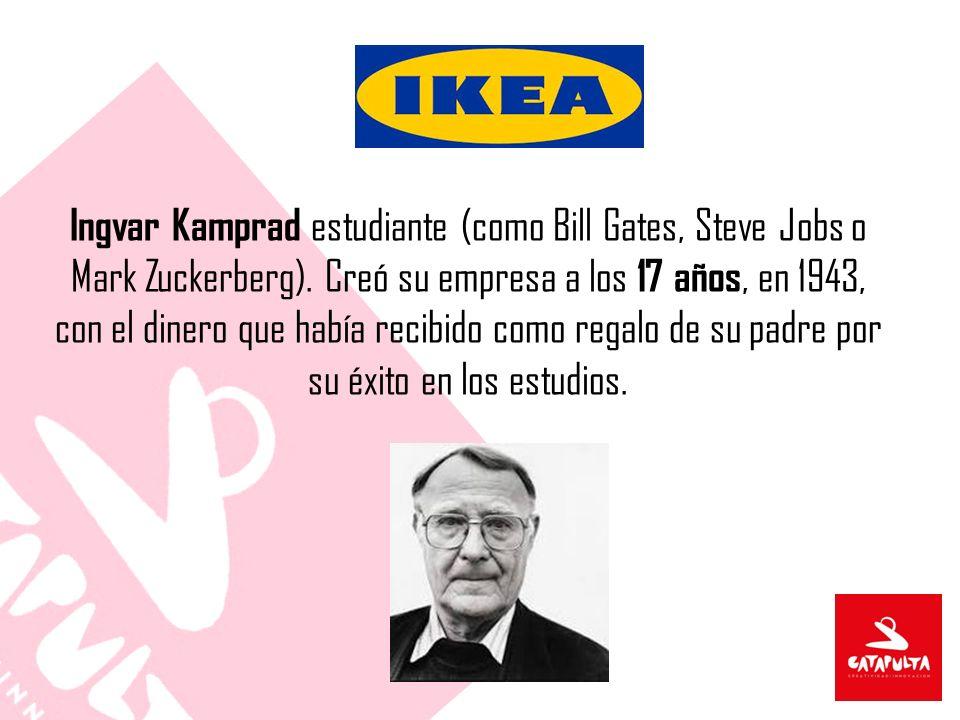 Ingvar Kamprad estudiante (como Bill Gates, Steve Jobs o Mark Zuckerberg). Creó su empresa a los 17 años, en 1943, con el dinero que había recibido co