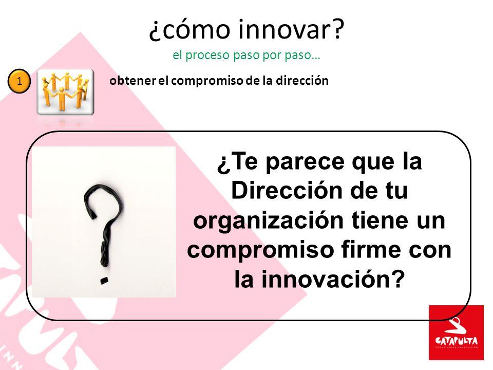 ¿cómo innovar? el proceso paso por paso… obtener el compromiso de la dirección 1 ¿Te parece que la Dirección de tu organización tiene un compromiso fi