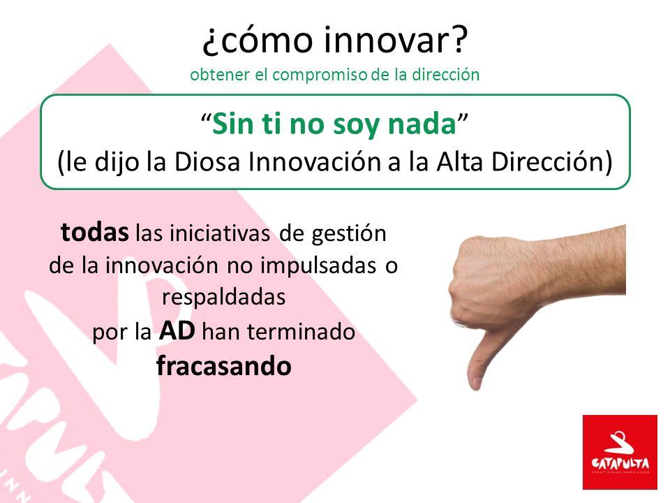 ¿cómo innovar? obtener el compromiso de la dirección Sin ti no soy nada (le dijo la Diosa Innovación a la Alta Dirección) todas las iniciativas de ges
