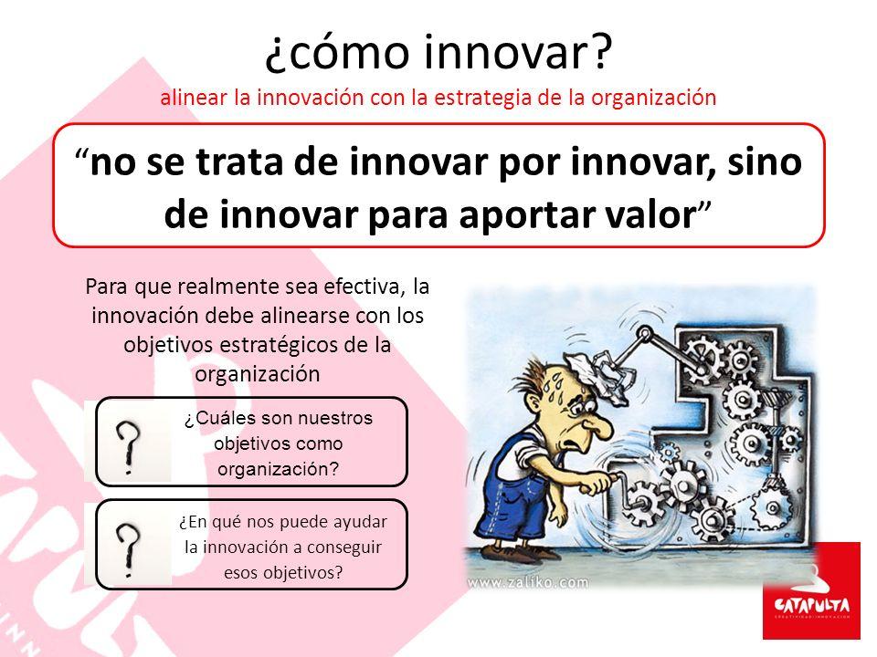 ¿cómo innovar? alinear la innovación con la estrategia de la organización no se trata de innovar por innovar, sino de innovar para aportar valor Para