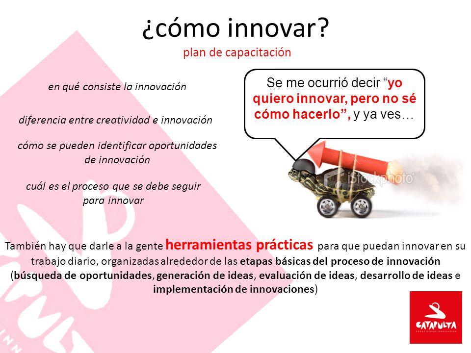 ¿cómo innovar? plan de capacitación Se me ocurrió decir yo quiero innovar, pero no sé cómo hacerlo, y ya ves… en qué consiste la innovación diferencia