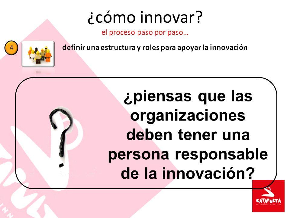 ¿cómo innovar? el proceso paso por paso… definir una estructura y roles para apoyar la innovación 4 ¿piensas que las organizaciones deben tener una pe