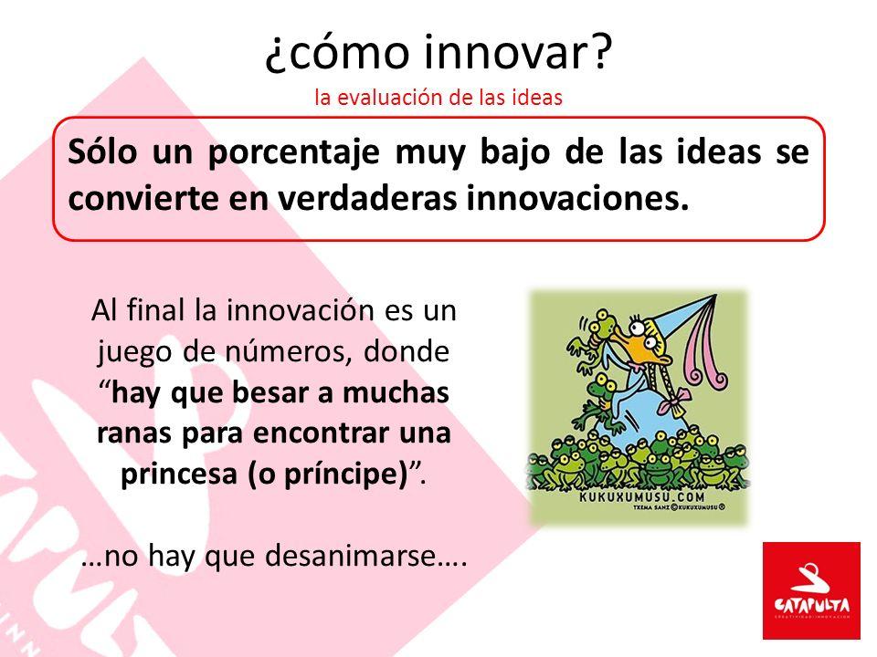 ¿cómo innovar? la evaluación de las ideas Al final la innovación es un juego de números, donde hay que besar a muchas ranas para encontrar una princes