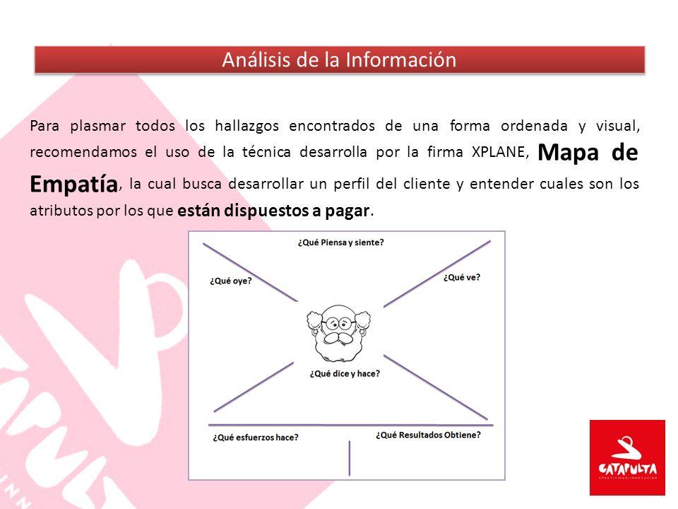 Para plasmar todos los hallazgos encontrados de una forma ordenada y visual, recomendamos el uso de la técnica desarrolla por la firma XPLANE, Mapa de