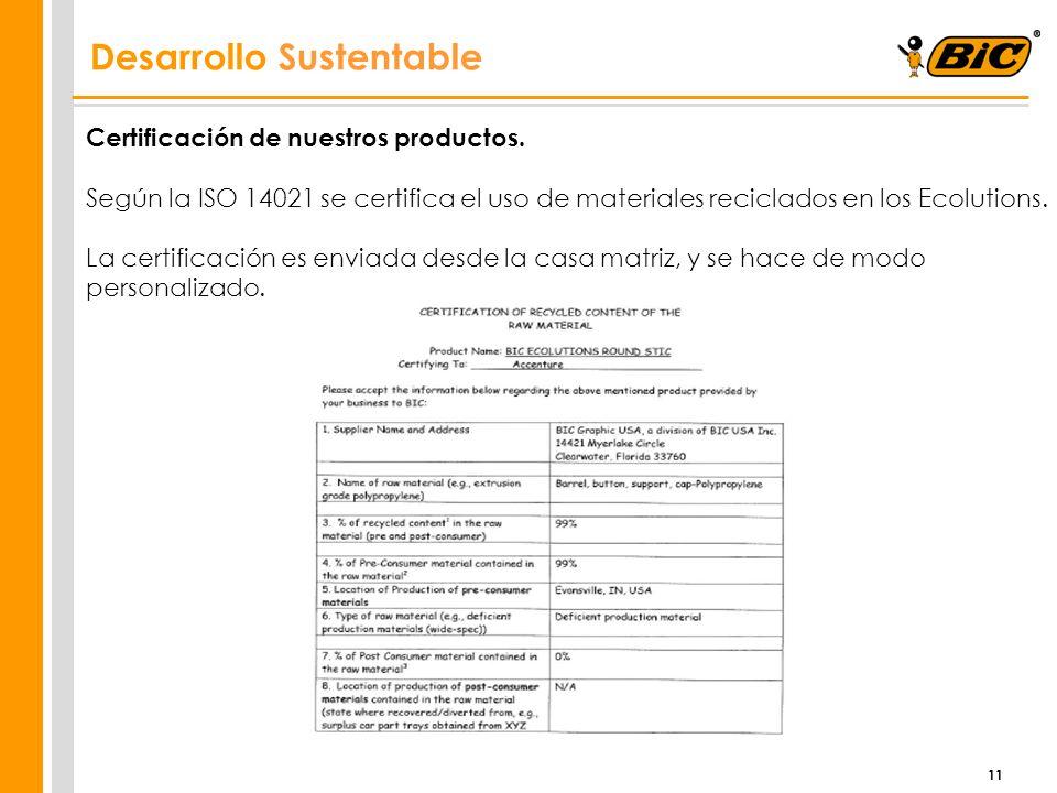 11 Certificación de nuestros productos. Según la ISO 14021 se certifica el uso de materiales reciclados en los Ecolutions. La certificación es enviada