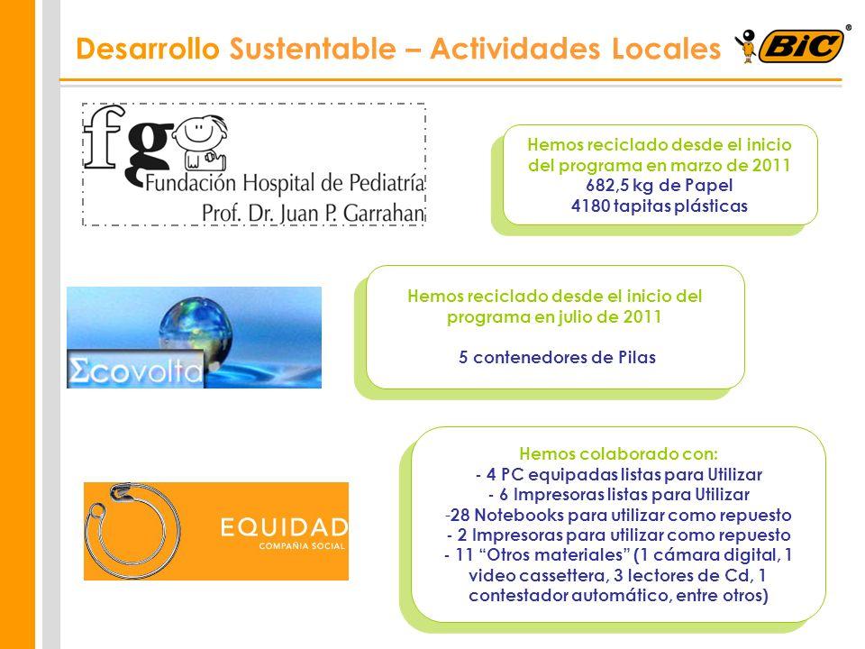 Desarrollo Sustentable – Actividades Locales Hemos reciclado desde el inicio del programa en marzo de 2011 682,5 kg de Papel 4180 tapitas plásticas He