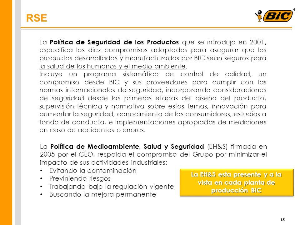 15 RSE La Política de Seguridad de los Productos que se introdujo en 2001, especifica los diez compromisos adoptados para asegurar que los productos d